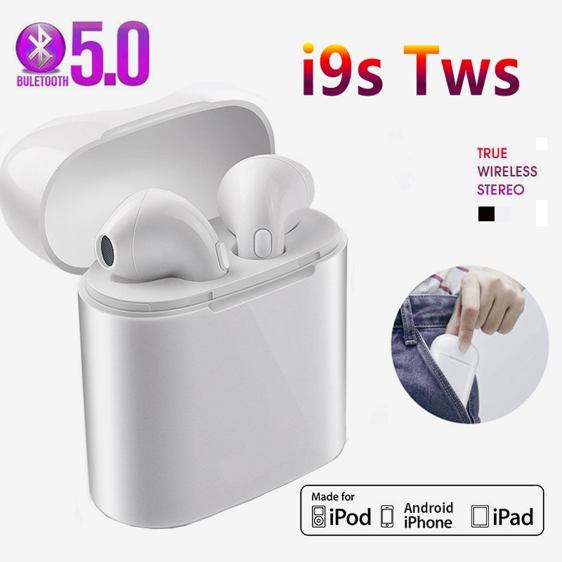 i9s Headphone Wireless Bluetooth 5.0 Earphone Sports earbuds Stereo Sound Headset For Iphone Android