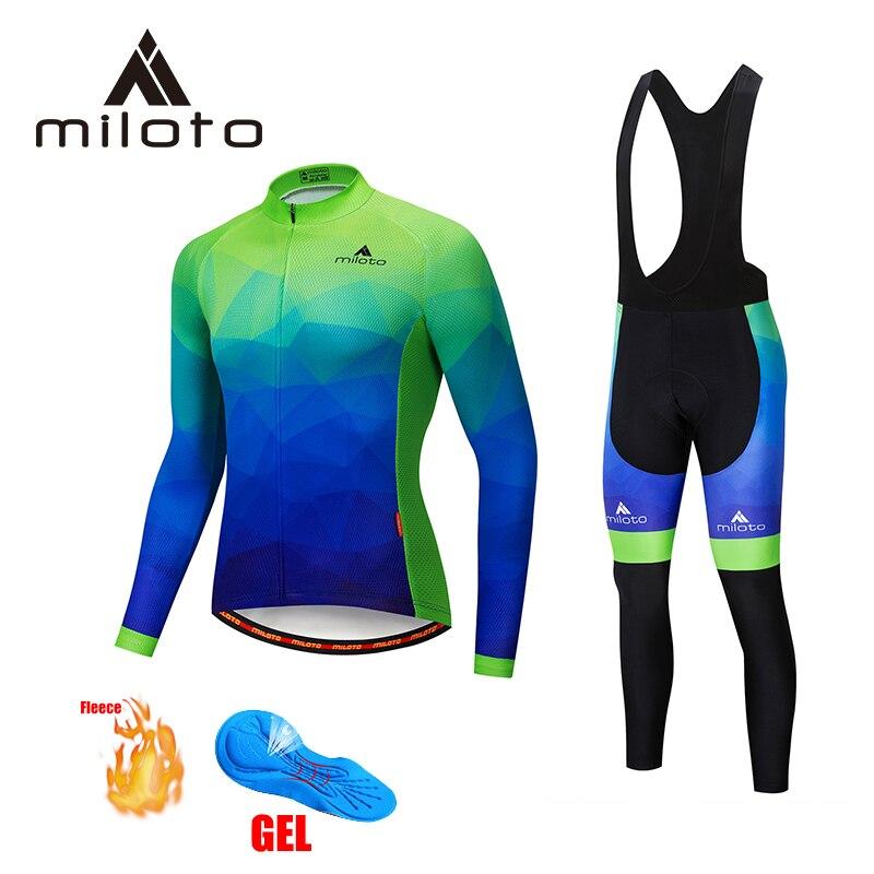 MILOTO polar térmico ciclismo conjuntos uniformes pantalones de hombre montaña MTB bicicleta chaqueta chándal ropa larga de ciclismo 5D gel