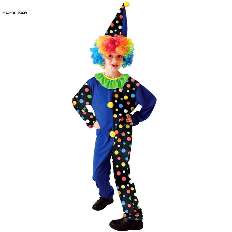 Naranja divertido niño Halloween droll disfraz de Joker niños payaso de circo monos Cosplay carnaval Purim Stage Play Party dress