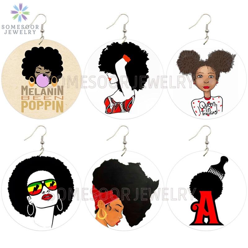 SOMESOOR melanina sido Poppin africano pendientes de gota de madera Afrocentric étnica reina chicle diseño de niña joyería para regalo de las mujeres