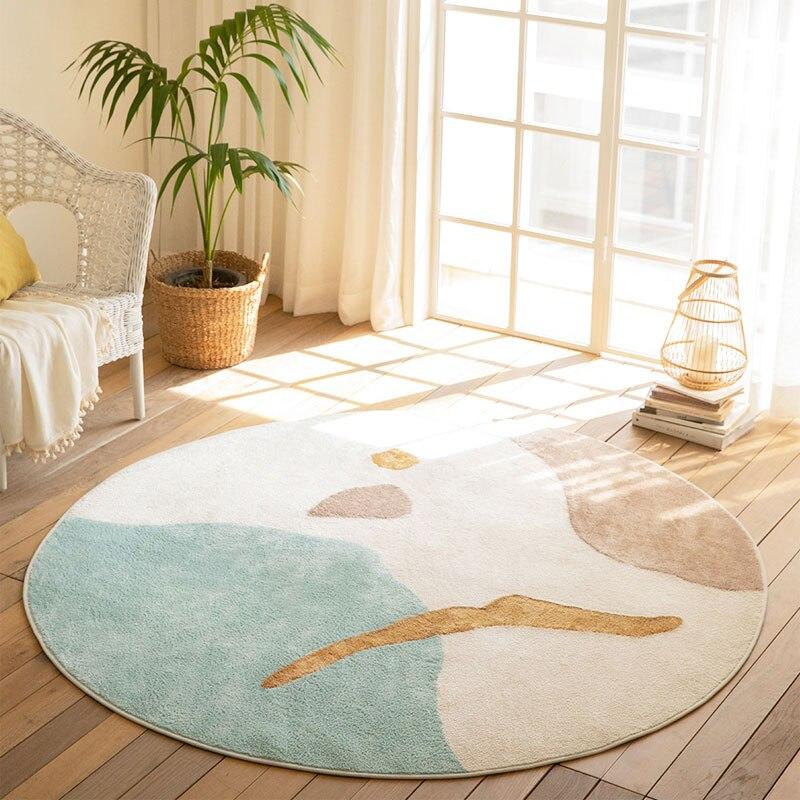 سجادة مستديرة لغرفة المعيشة سجادة ناعمة أشعث إسكندنافية لغرفة الأطفال سجادة سميكة منفوشة لكرسي بسيط صالون غرفة نوم حصيرة أرضية