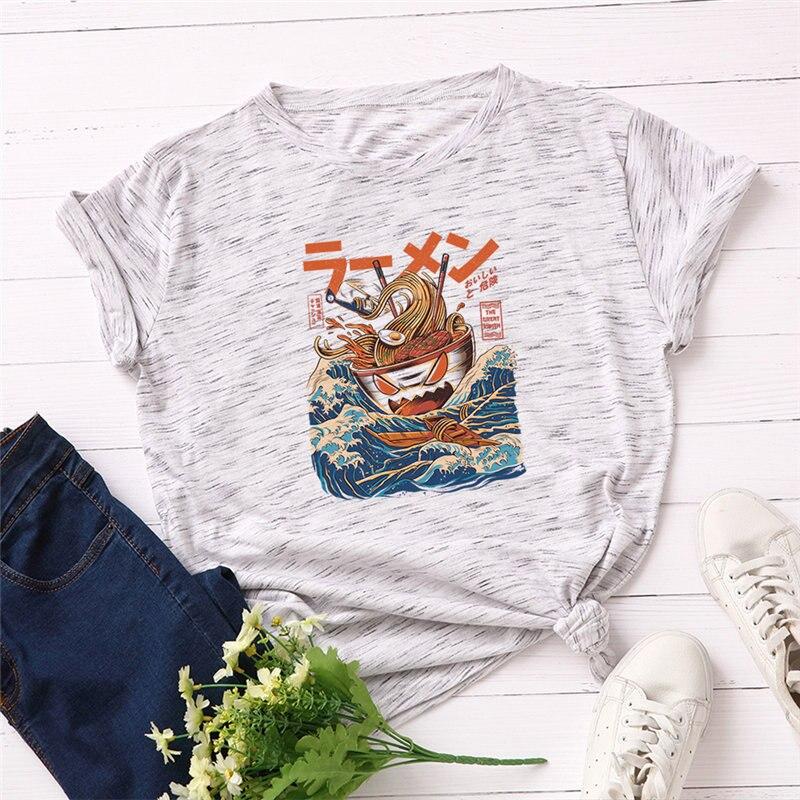 women t-shirt 2019 New Harajuku Noodles Print Vogue t shirt 100% Cotton Women Causal Tops Short Sleeve Tee Women Clothing
