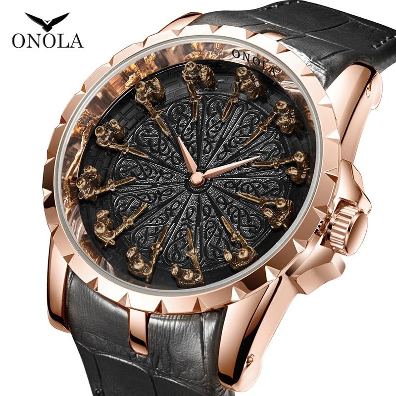 ONOLA reloj de cuarzo analógico creativo para hombre, marca de lujo superior, reloj de pulsera impermeable de oro rosa para hombre, 2019