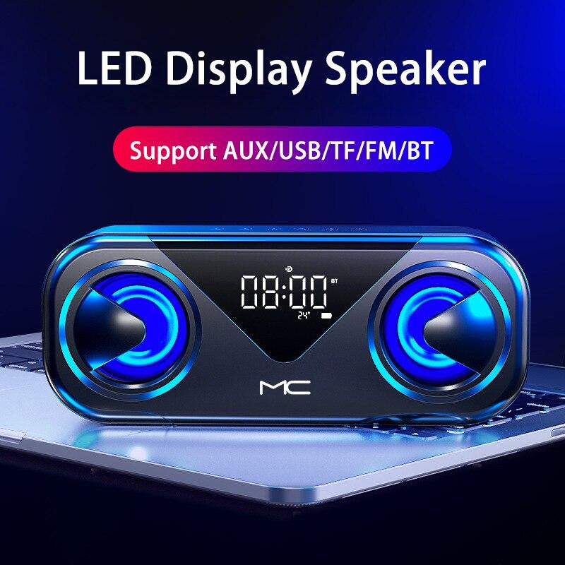 Altavoz Portátil con bluetooth radio fm despertador dual boombox pantalla LED USB...