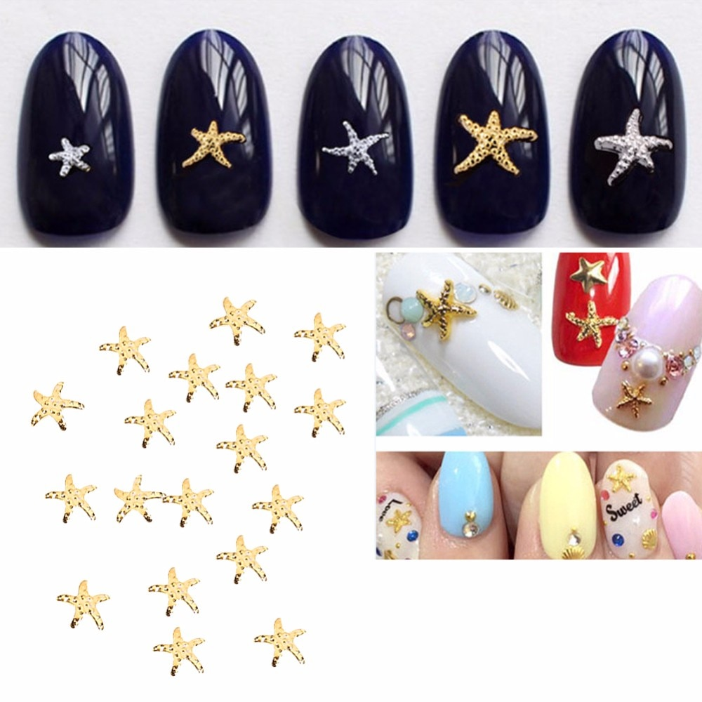 100pcs 3mm&5mm Nail Art Rivets Starfish styles 2 Colors=Gold/Silver Design 3D Nail Art DIY Charm Metal Studs Nail Art Decoration