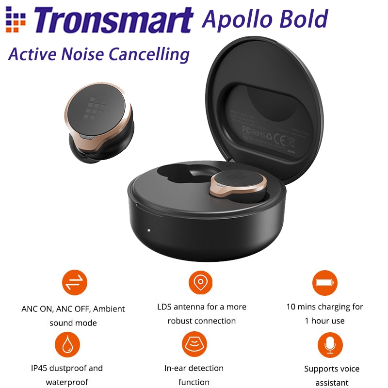 Review Tronsmart Apollo Bold Wireless Earbuds Qualcomm QCC5124 Active Noise Cancelling APT-X Bluetooth Earphones In-ear Detection