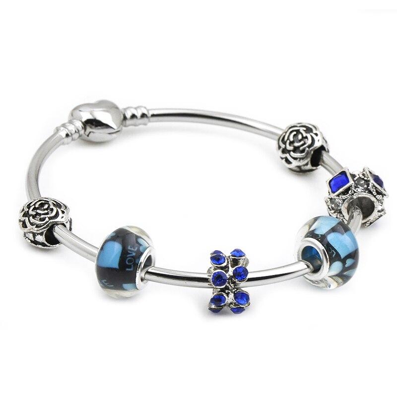 Nueva moda Grystal & Glass Sunflower Dangles Charm Bracelet apto Snake Chain DIY pulsera fina para mujer joyería regalo
