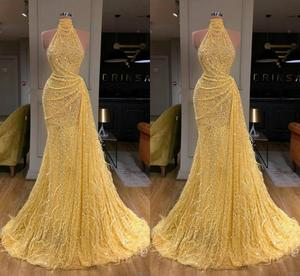 2020 Yellow Evening Dresses High Collar Sequined Lace Long Sleeve Mermaid Prom Dress Feather Real Image Custom Made Robes De