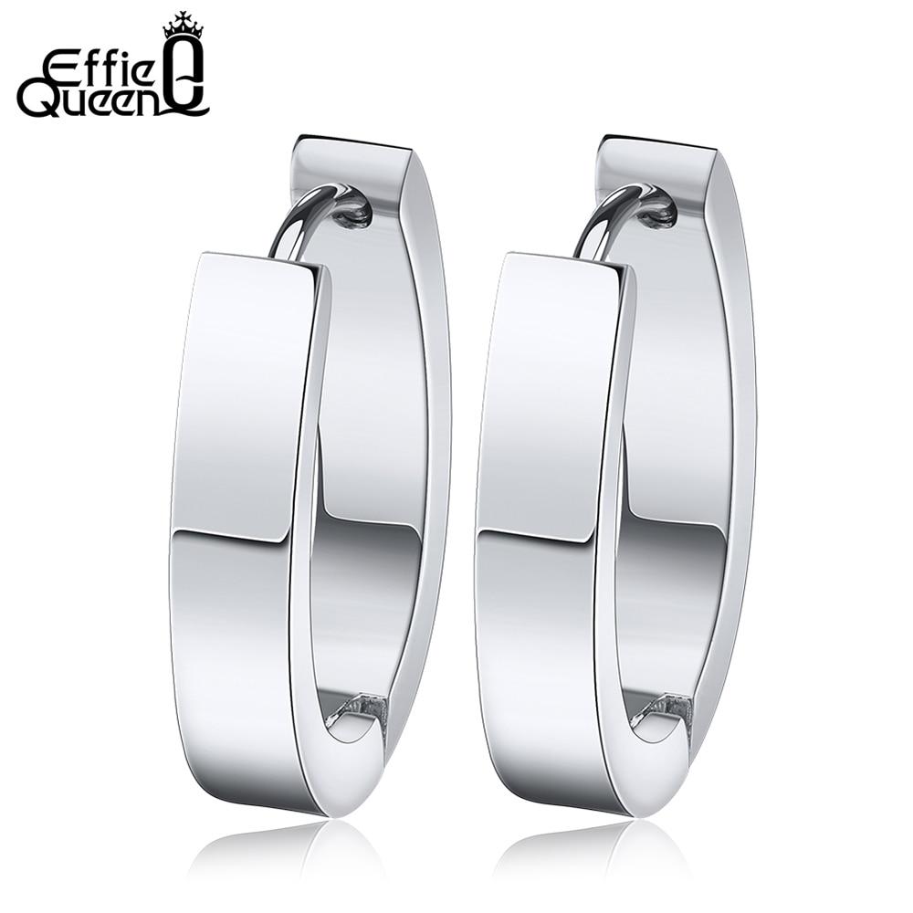 Effie Queen Высокое качество 316 L серьги из нержавеющей стали для женщин идеальные полированные круглые серьги-гвоздики трендовые мужские ювелирные изделия IE17