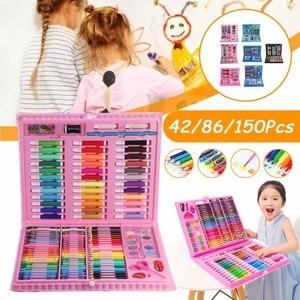 150PCS Children Kids Colored Pencil Artist Kit Set Painting Crayon Marker Pen Brush Drawing Tools Set Stationery Kids Gift
