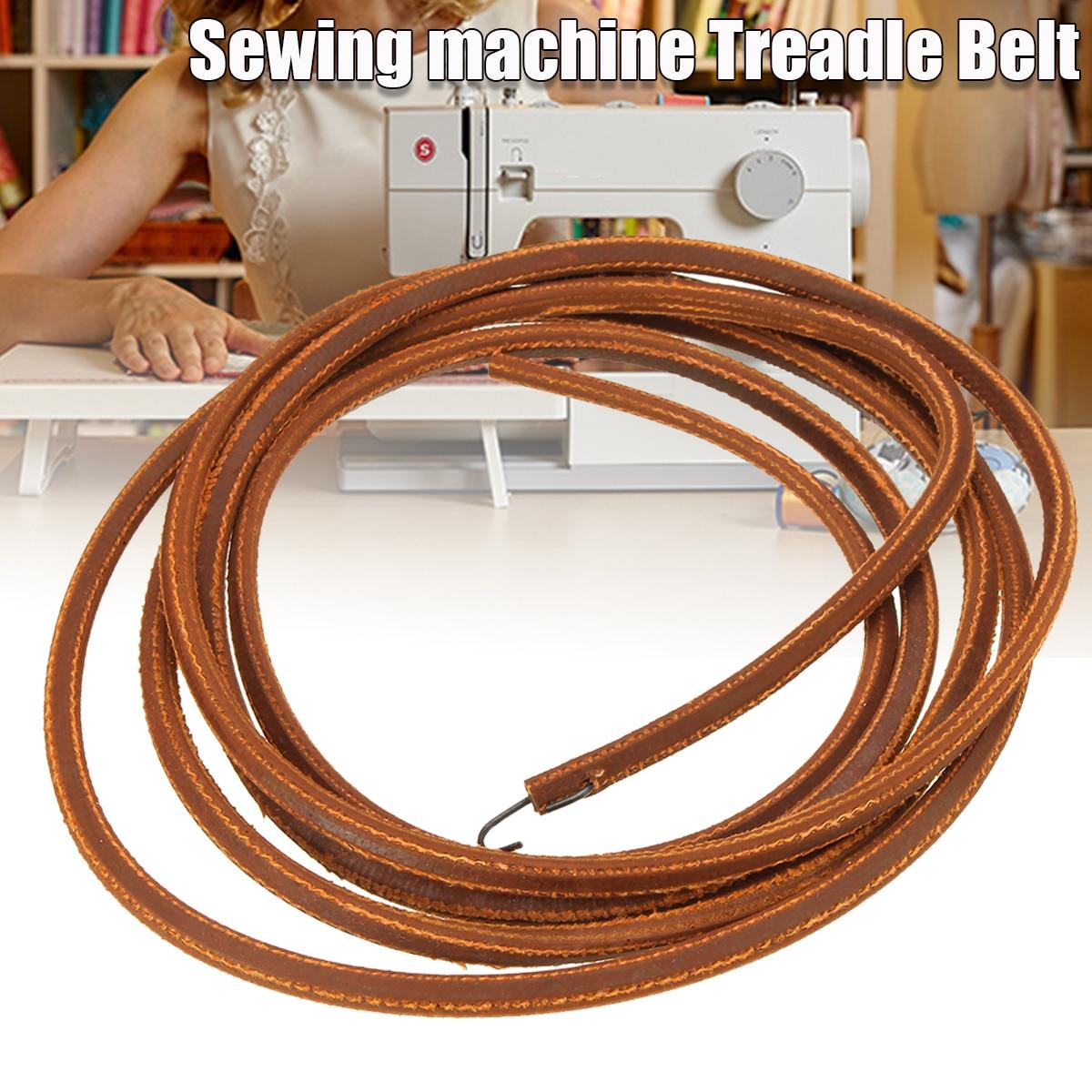 """Piezas prácticas de la correa del pedal de cuero de 68 """"/173cm para la máquina de coser Singer con gancho de Metal para el accesorio de herramientas de costura"""