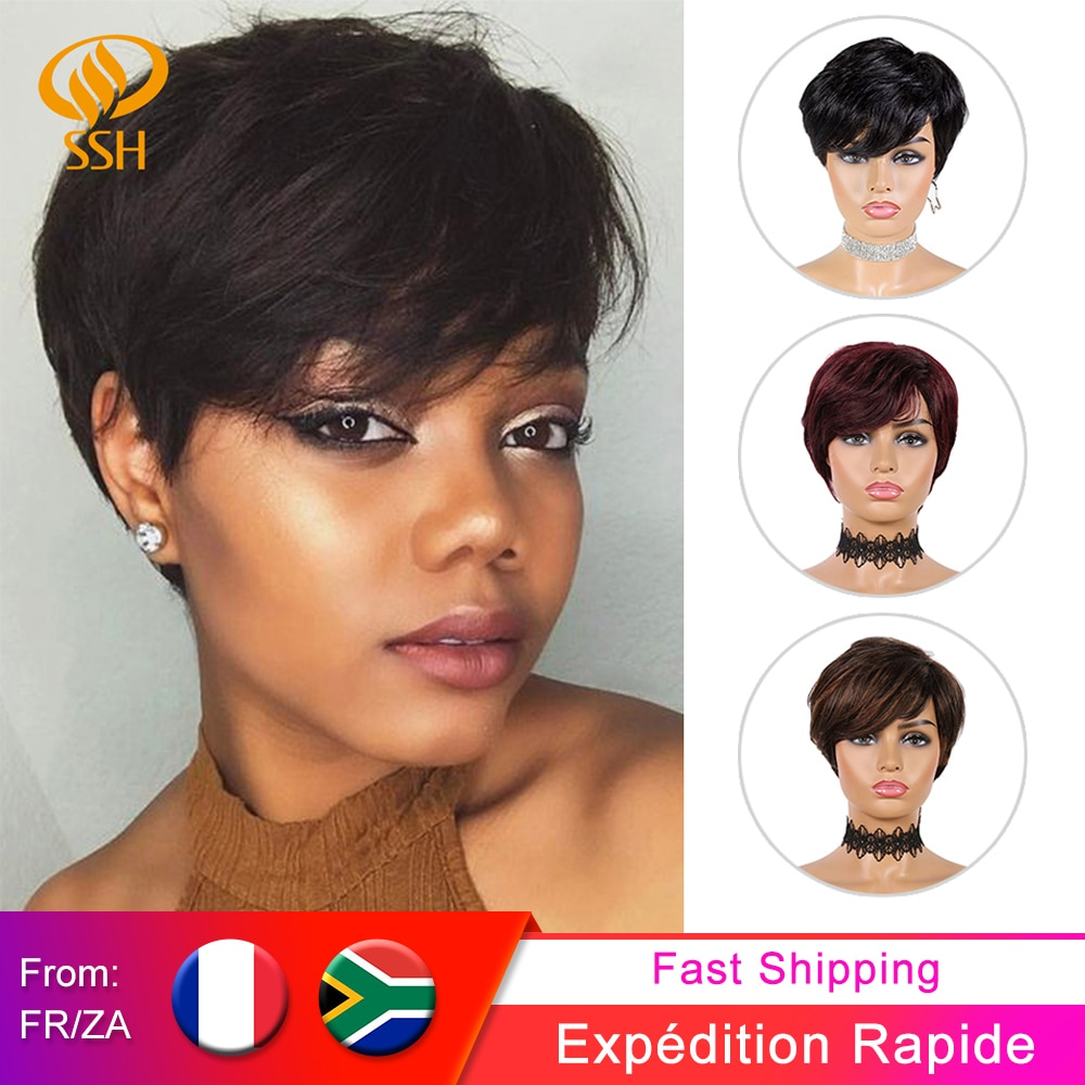 SSH Short Human Hair Wigs Pixie Cut Straight Remy Brazilian Hair for Black Women Machine Made Highli