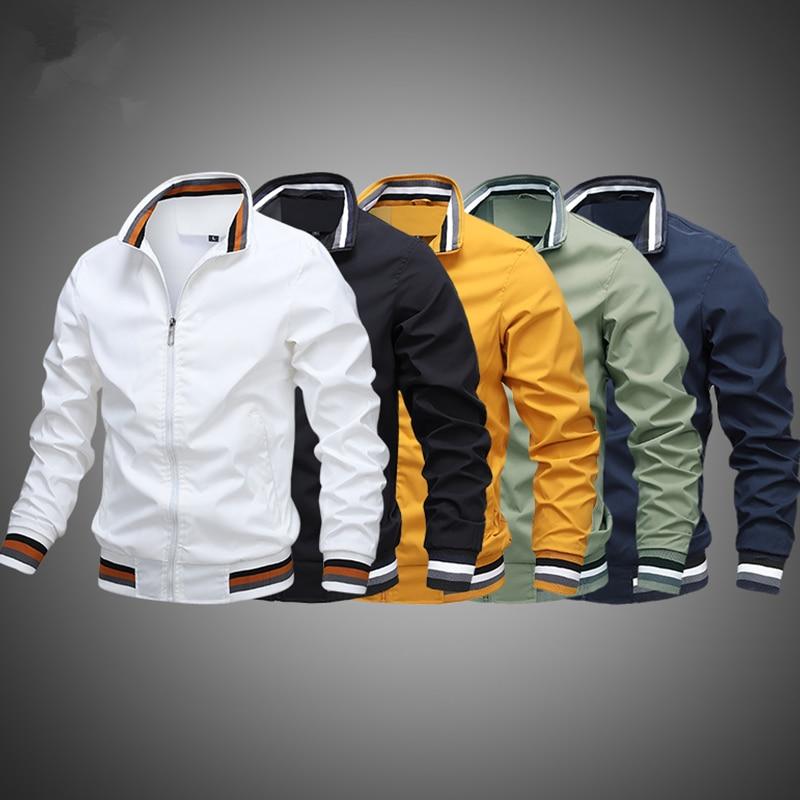 Куртка-бомбер мужская летная куртка мужская однотонная военная куртка мужская Модная приталенная куртка-бомбер мужская бейсбольная куртк...