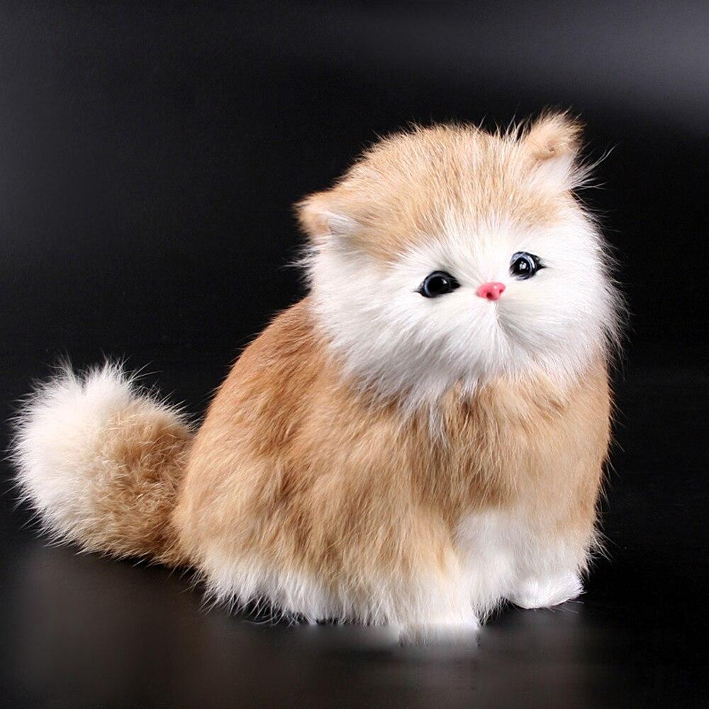 Crianças adorável simulação elétrica brinquedos de pelúcia gatos modelo macio soando bonito pelúcia gato boneca brinquedos para crianças aniversário presentes do bebê