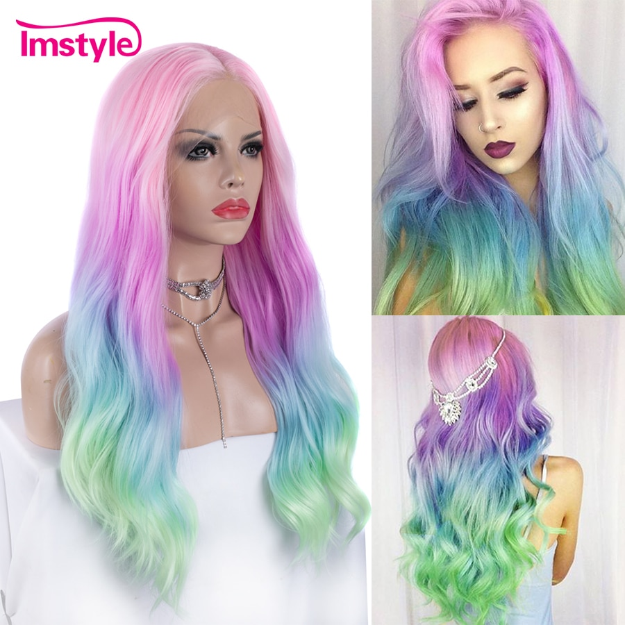 Imstyle Pink Purple Blue Green Wig Ombre Synthetic Lace Front Wig Multicolor Wigs For Women Heat Resistant Fiber Party Cosplay