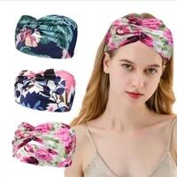 new style ladies printed sports hairband bohemian hairband european and american wide brim yoga sweat absorbent belt drawstring