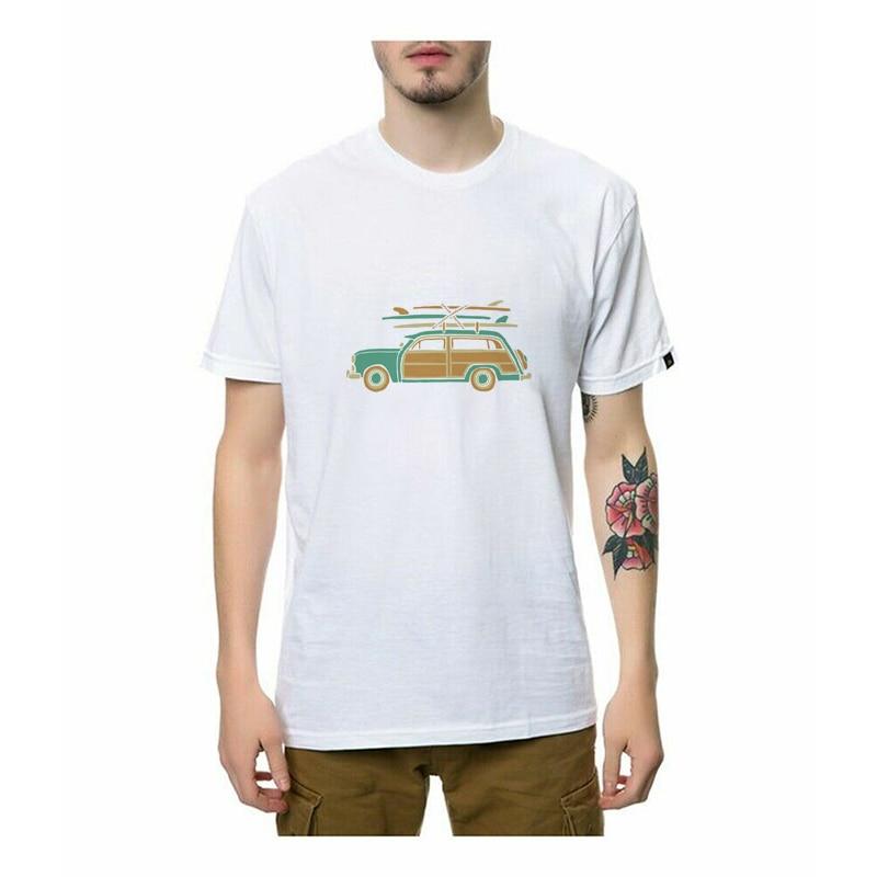 Camisetas para hombre de Surf Car, informales de verano Camisetas estampadas, camisetas novedosas de gran tamaño para hombres y mujeres, camisetas de marca con cuello redondo para hombres