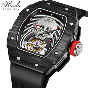 Haofa Luminous Skeleton Tourbillon Movement Watches Mens 2021 Mechanical Sapphire Skull Manual Flying Tourbillon Wristwatches