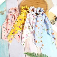 fashion flowers print long ribbon ponytail scarf hair tie scrunchies women girls sweet elastic hair bands hair accessories