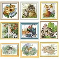joysunday animal cat series pattern cross stitch kit aida 14ct 11ct count print canvas needle embroidery diy handmade needlework