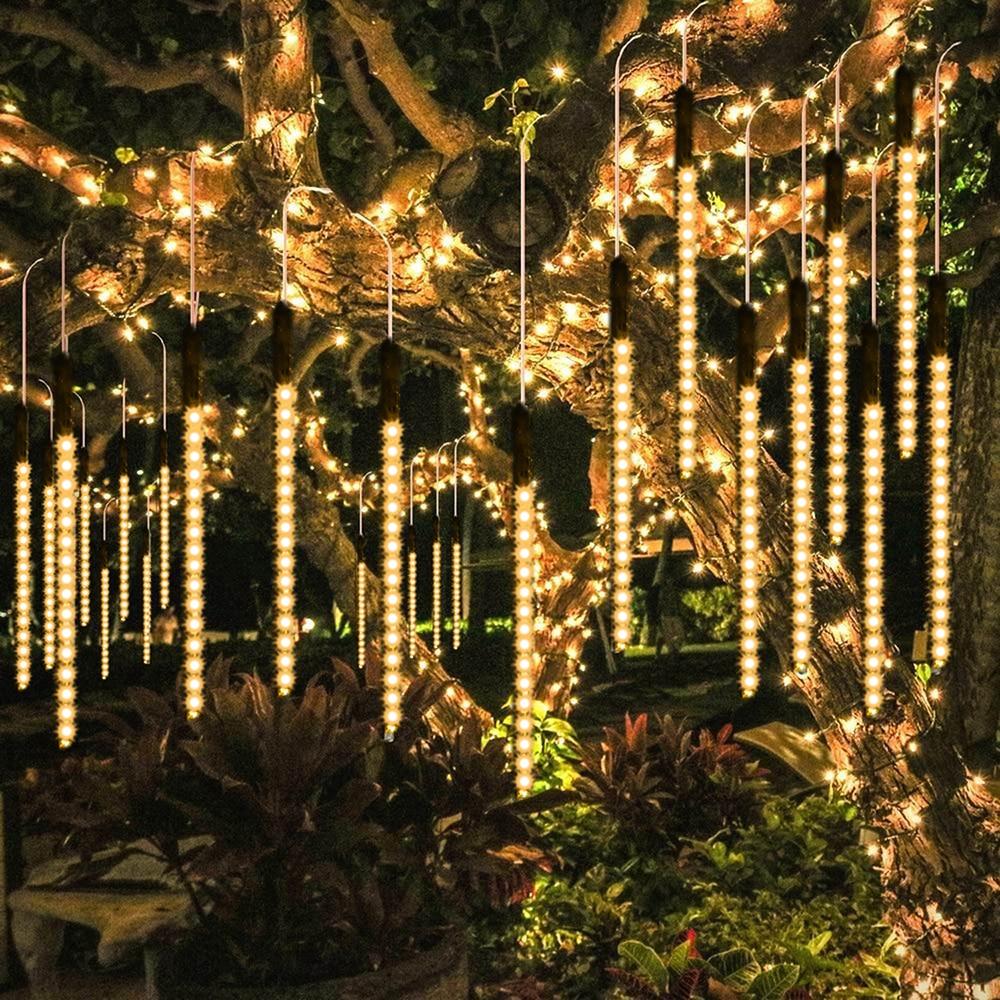 Paquete de 1-4 luces LED lluvia de meteoros IP65 impermeable LED 8 tubos caída cadena luces decoración de Navidad AC100-240 V 30/ 50cm