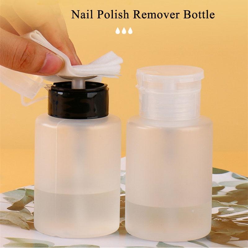 60ml 180ml 200ml Push Down Empty Lockable Pump Dispenser Bottle for Nail Polish and Makeup Remover NailPolishRemover Bottle