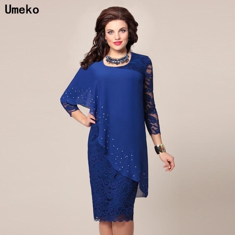 Umeko 2020 New Autumn Women Fashion Elegant Long Sleeve Lace Dress Knee Length Formal Dress Mother o