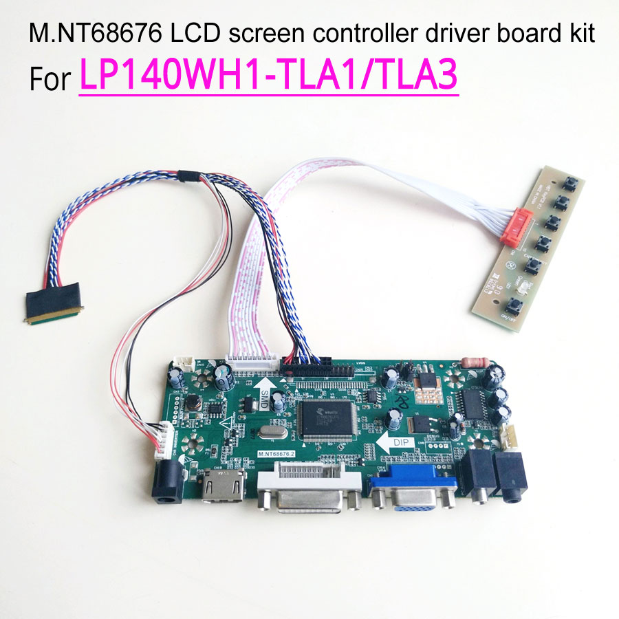 "For LP140WH1-TLA1/TLA2/TLA3 WLED 40Pin LVDS notebook PC LCD HDMI DVI VGA 14"" MNT68676 screen controller drive board 1366*768 kit"