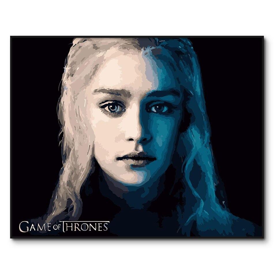 Daenerys pintura por números cartel de Emilia Clarke pintura de TV lienzo con números pintura acrílica por números kits para adultos