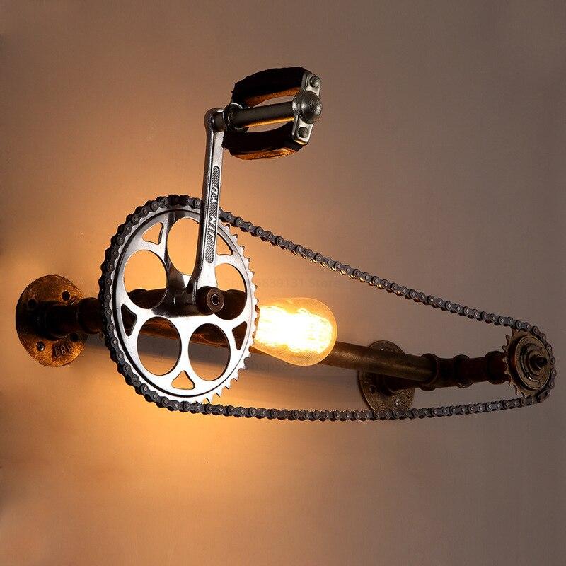 Lámparas de pared Retro Vintage engranaje bicicleta agua lámpara de pared de tubo restaurante Bar Pub Livng habitación escalera Villa E27 aplique de pared