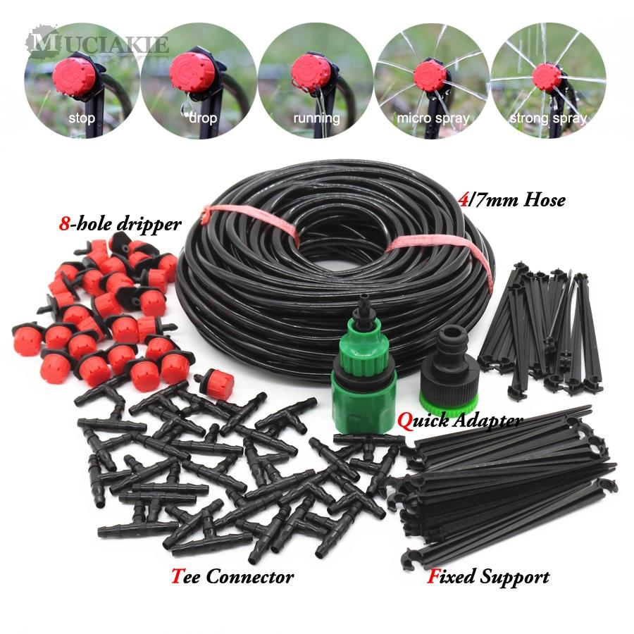 50m-5m DIY система за капково напояване автоматично поливане на градински маркуч комплекти за микро капково напояване с регулируеми капкомери