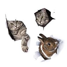 Autocollant mural 3D mignon lapin chaton   Autocollant pour salle de bains, toilettes, placard, Stickers de décoration de la maison, papier peint animaux