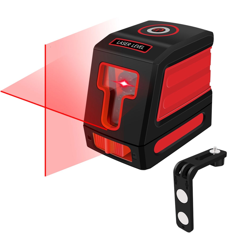Nivel láser autonivelado Horizontal y Vertical haz de línea transversal portátil Mini medidor de nivel herramienta de medición con soporte