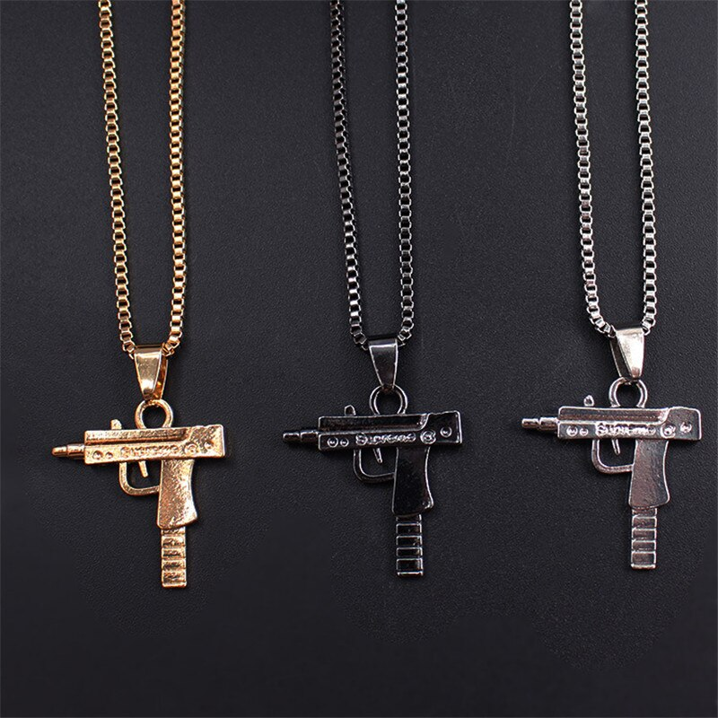 NEW Cool Gothic Hip Hop UZI Kolye GUN Shape Pendant Necklace Silver/Gold/Black Color Army Style Male Chain Men Necklaces Jewelry