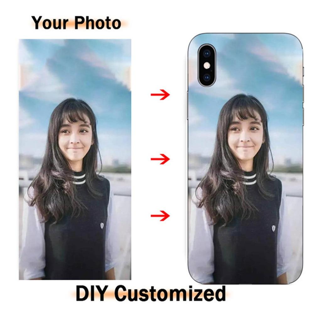 Fotos de bricolaje personalizado de silicona transparente teléfono móvil para iPhone XI Max X 11 profesional Max XR 7 8 + 6 + 5 s