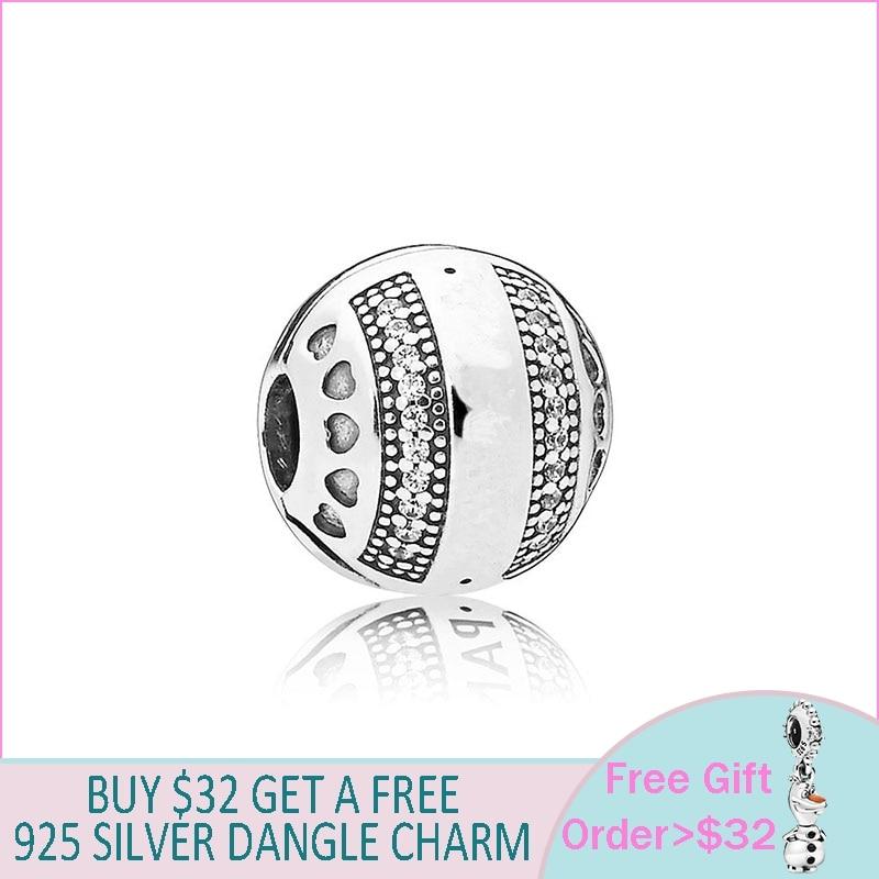 Fashion 925 Sterling Silver Beads Silver Round Clip Charms fit Original Pandora Bracelets Women DIY Jewelry