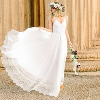 Racerback Lace Chiffon Elopement Wedding Dress V-Neck A Line Boho Beach Maxi Floor Length Spaghetti Straps Bridal Gowns 10150