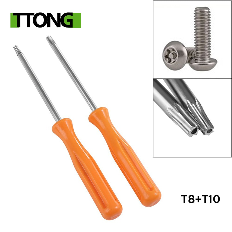 1Pc Yellow TORX T8 Precision Screwdriver + 1Pc T10 Security Screwdriver Tool for Xbox 360/ PS3/ PS4