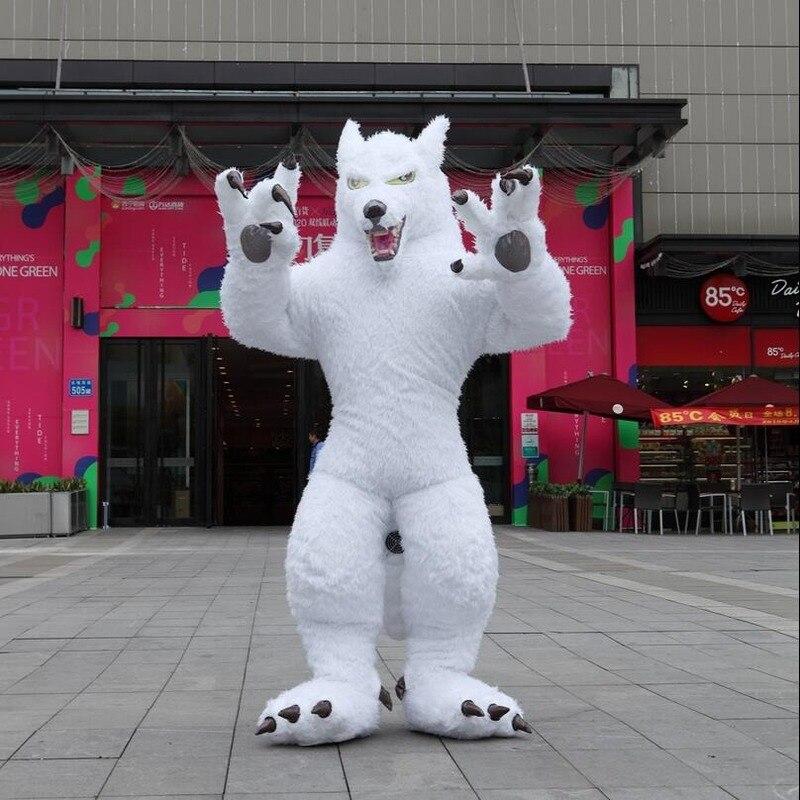 زي تميمة الذئب الأبيض القابل للنفخ 2 متر ، 2.6 متر ، 3 متر ، فستان حفلة تنكرية ، ملابس إعلان كرنفال للبالغين