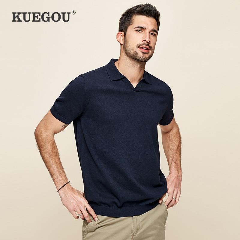 Kuegou algodão poliéster homem t camisas de manga curta malha negócios casual lapela tshirts verão camisa masculina superior plus size XZ-8991