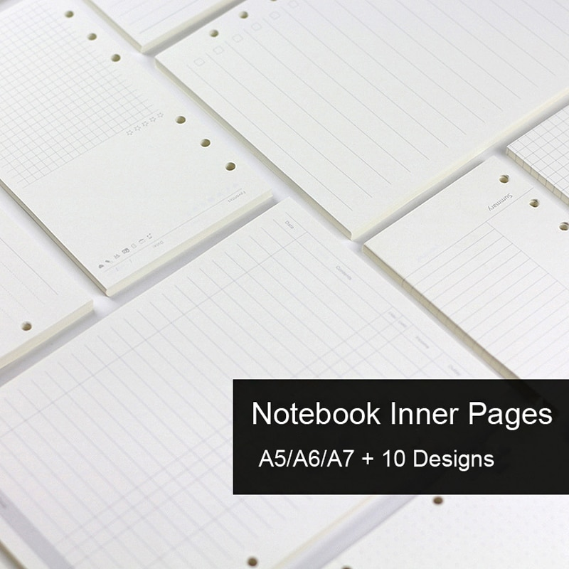 45 Sheets A5 A6A7 Loose Leaf Notebook Refill Spiral Binder Inner Page Weekly Monthly To Do Line Dot Grid Inside Paper Stationery