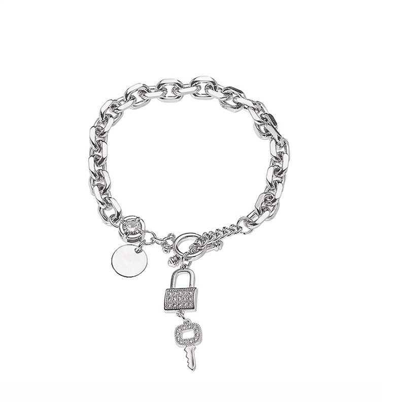Ins Niche Design Style College Style Bracelet Female Star with Key Lock Pendant Fashion Hundred Matching Accessories  - buy with discount