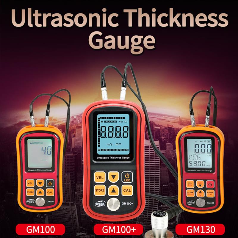 Thickness Gauge Sonic Digital Display Thickness Tester for Plastic Glass Ceramic Stainless Steel, GM100