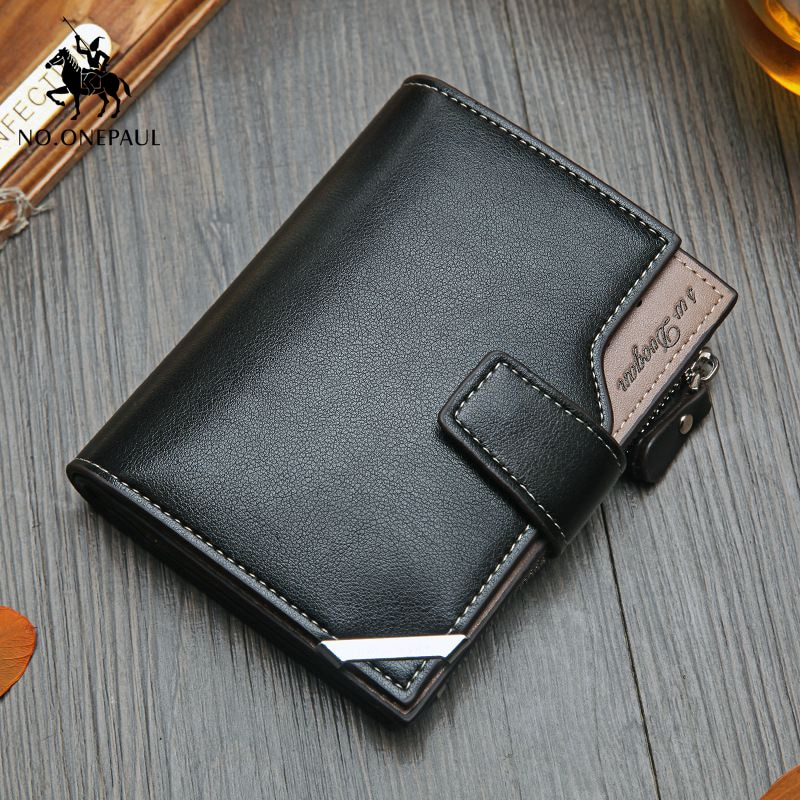 NO.ONEPAUL Vintage Men's Short Wallet Men Genuine Leather  Multi-Card Bit Retro Card Holder Clutch W