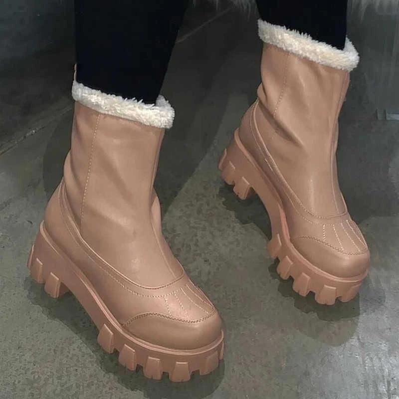 New Winter Products Women PU Fashion Thick Heel Snow Boots Comfortable Warm Plush Anti Slip Popular