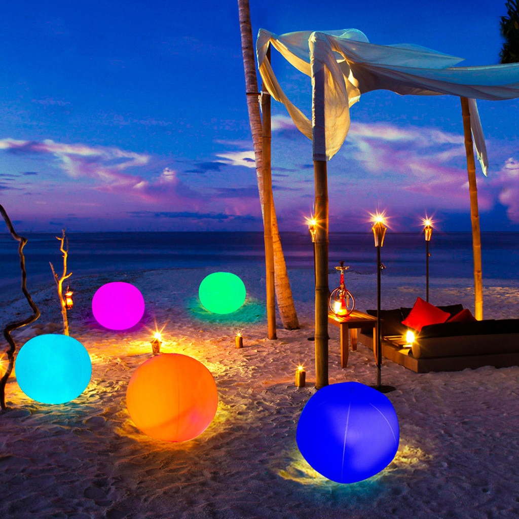 Bola luminosa inflable para piscina, bola Led decorativa para la playa, para...