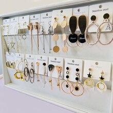 Pendientes de acero inoxidable para mujer o niña, 20 par/lote, diseños combinados, precio de fábrica