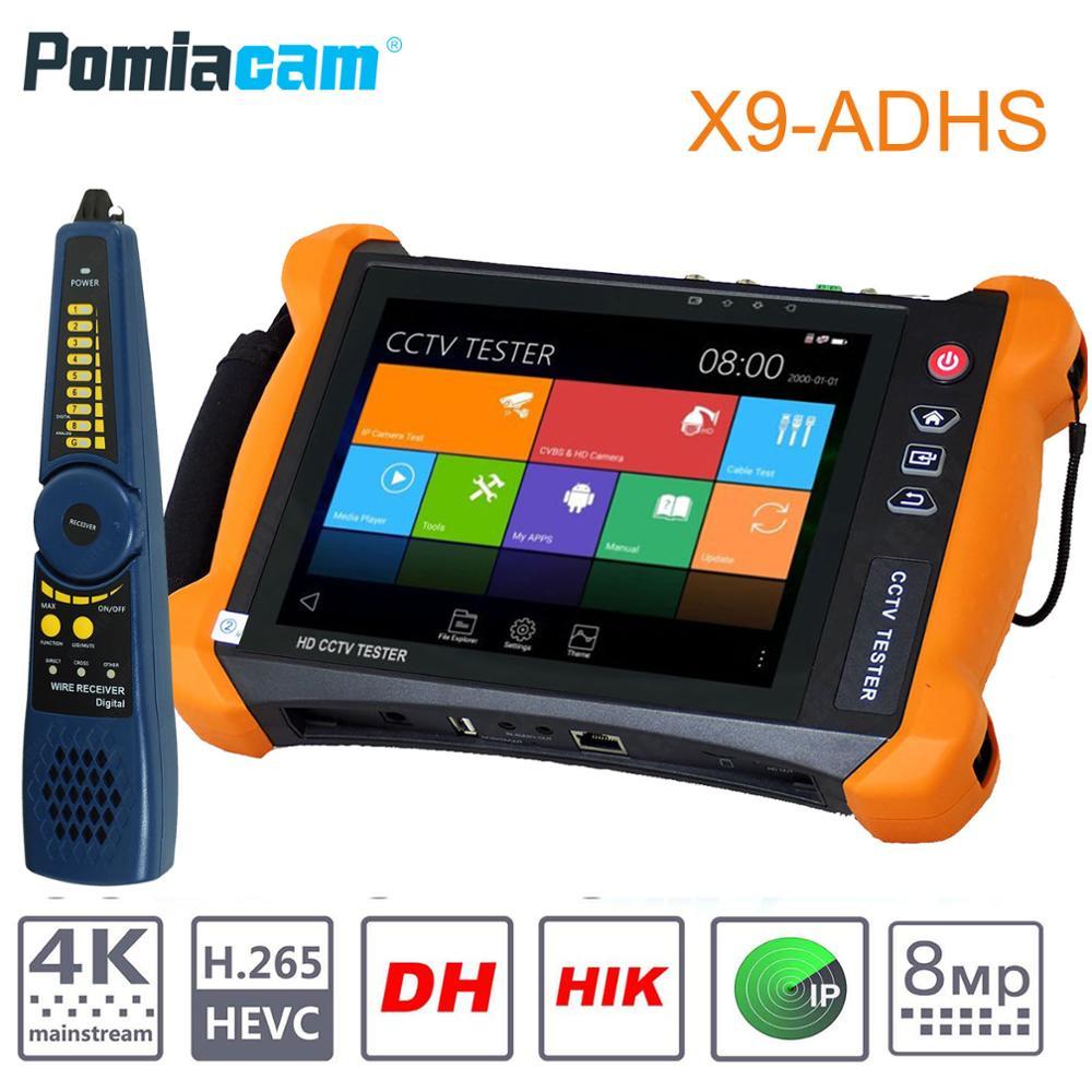 X9ADHS IP камера тестер с портом POE 8MP TVI 8MP CVI 5MP AHD SDI CVBS CCTV тестер монитор 8 дюймов сенсорный экран 2K H.265 двойной тест HDMI in