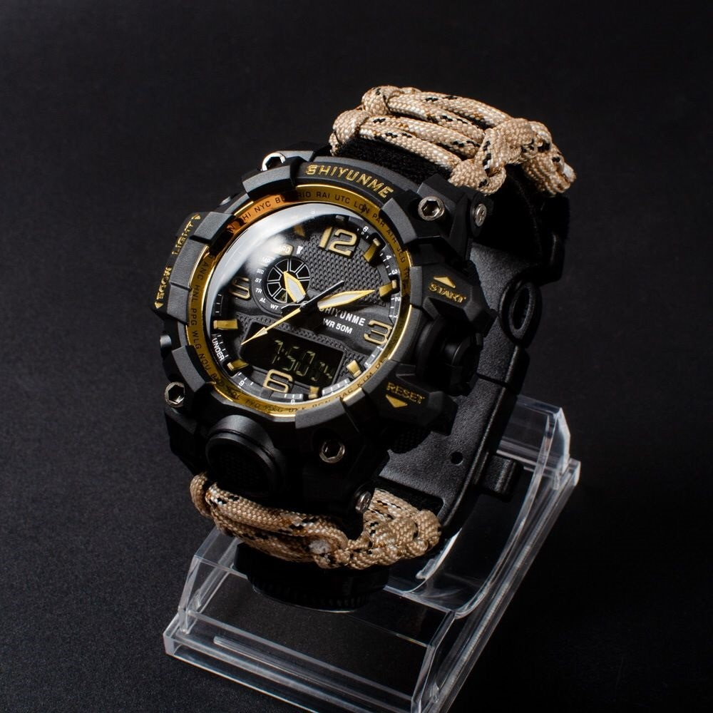 SHIYUNME Men Military Sports Digital Watches Compass Outdoor Survival Multi-function Waterproof Men's Watch Relogio Masculino