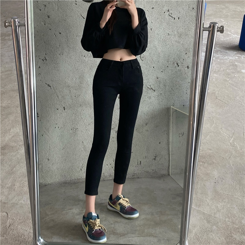 Korean Style Women's Slim-Fit Waist Figure Flattering Tight Cropped Jeans Stretch High Tappered Penc